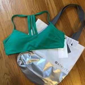 New Athleta high teal strappy bikini top M